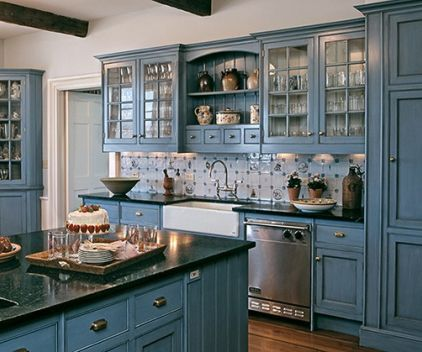 Blue Kitchen Thinking Now That The Brown Walls And Cabinets Are Painted Out A Creamy White With Hints Of Yellow Hues It Is Time To