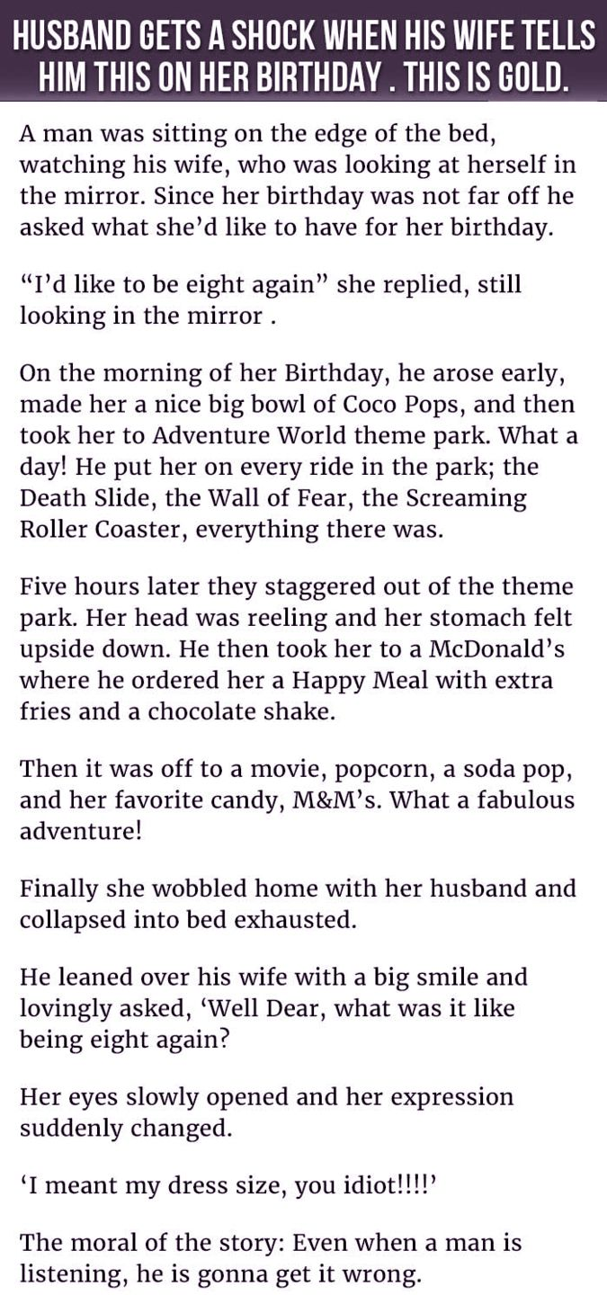 He Tried Doing Something Nice For His Wife S Birthday Her Response Is Shocking Funny Quotes Funny Texts Funny Fails