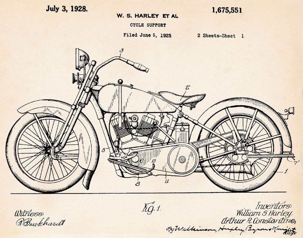 USA Patent Drawing HARLEY DAVIDSON MOTORBIKE CYCLE  MOUNTED PRINT 1928 Gift