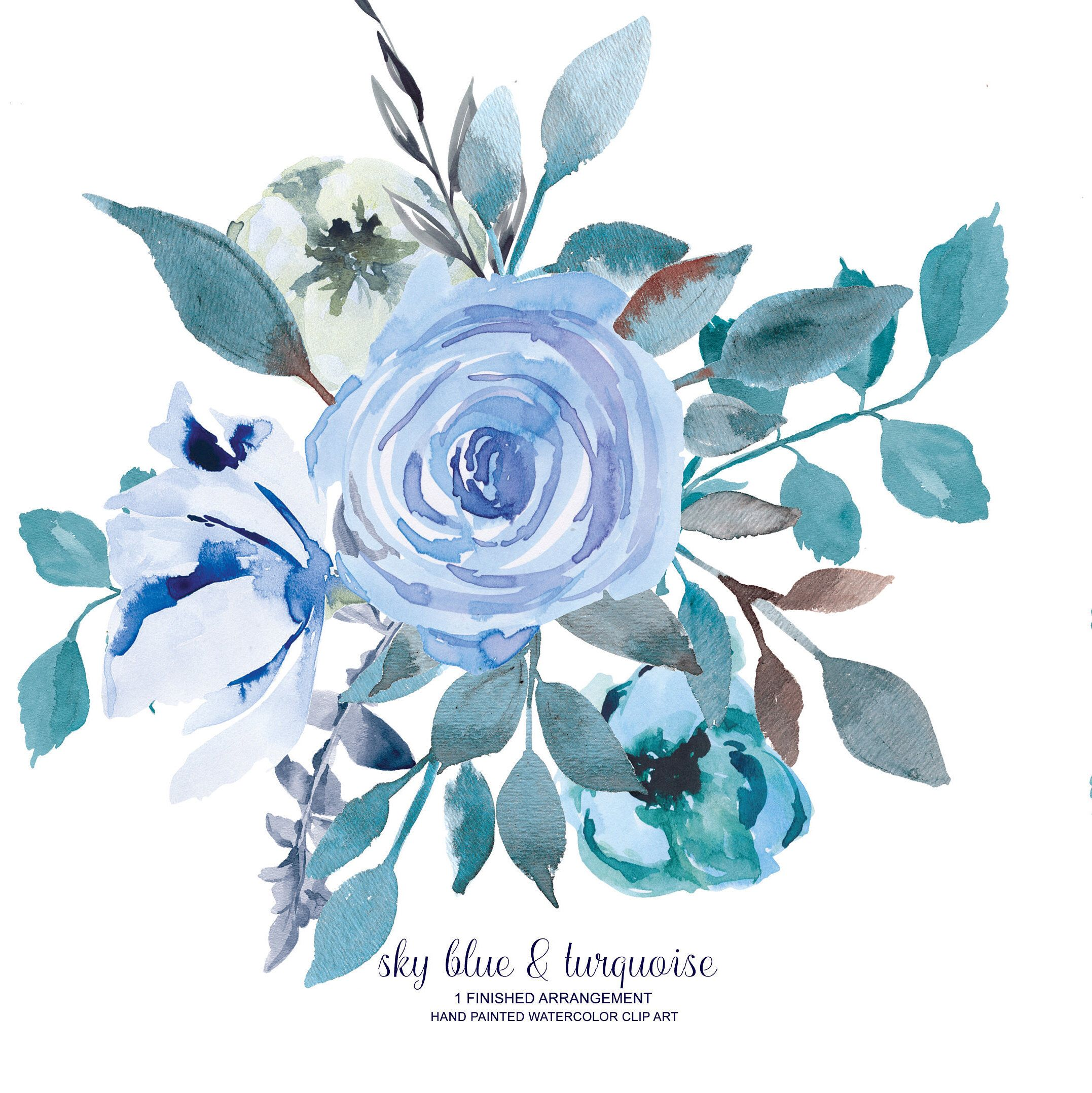 Watercolor Flower Clipart 24 Floral Clip Art Light Blue And