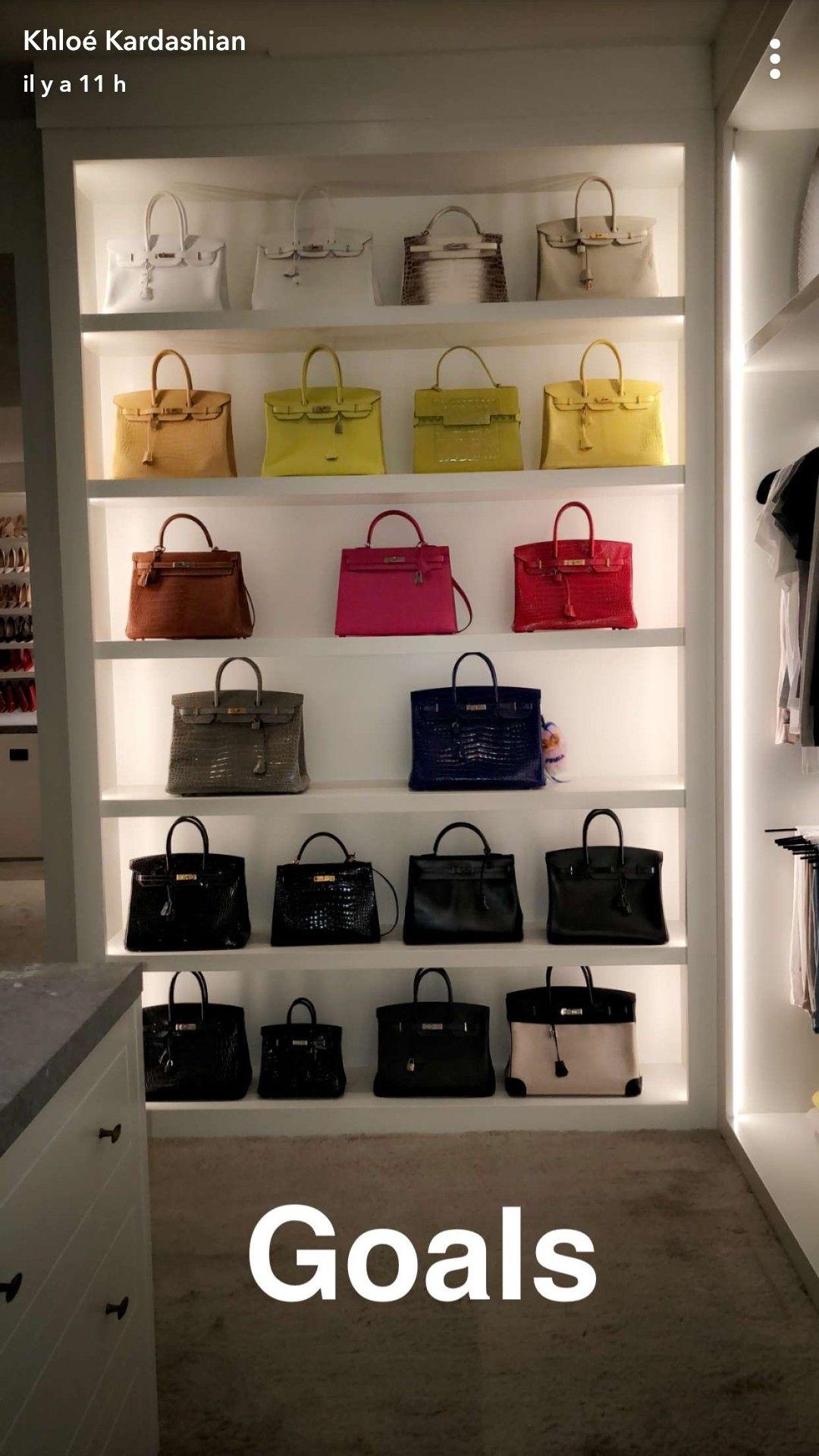 From Khloe Kardashian S Snapchat Bags Luxury Closet Khloe Kardashian House Closet Storage