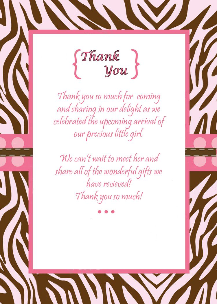Baby Shower Thank You Notes To Match The Invitations Created In