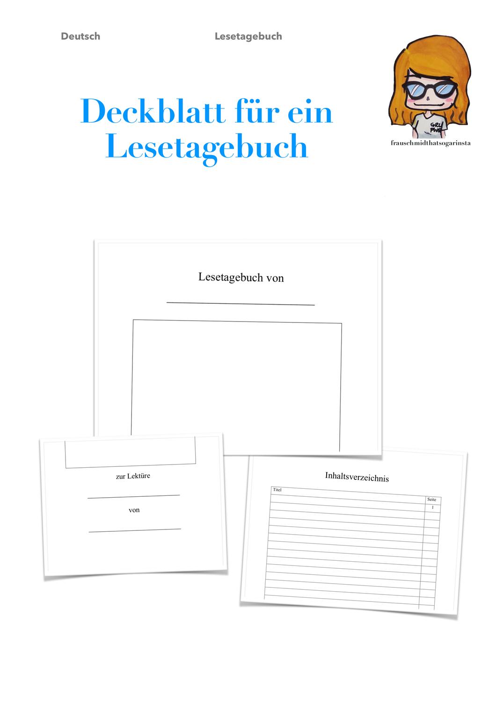 Deutsch Deckblatt Inhaltsverzeichnis Lesetagebuch Unterrichtsmaterial Im Fach Deutsch Lesetagebuch Deckblatt Lesen