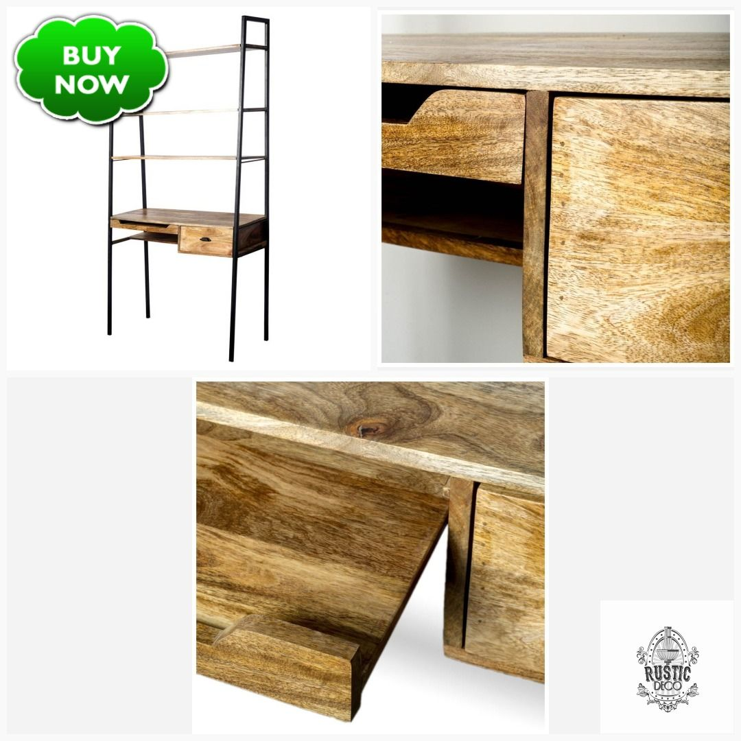 Industrial Desk W Shelving Small Space Desk Iron Natural Hardwood In 2020 Desks For Small Spaces Small Spaces Hardwood Desk
