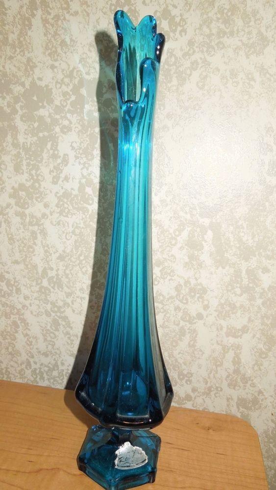 Vintage Rare Teal Blue Rainbow Handblown Glass Vase Approx 13