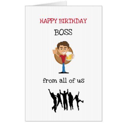 Large Happy Birthday Boss Design Card Zazzlecom Cards