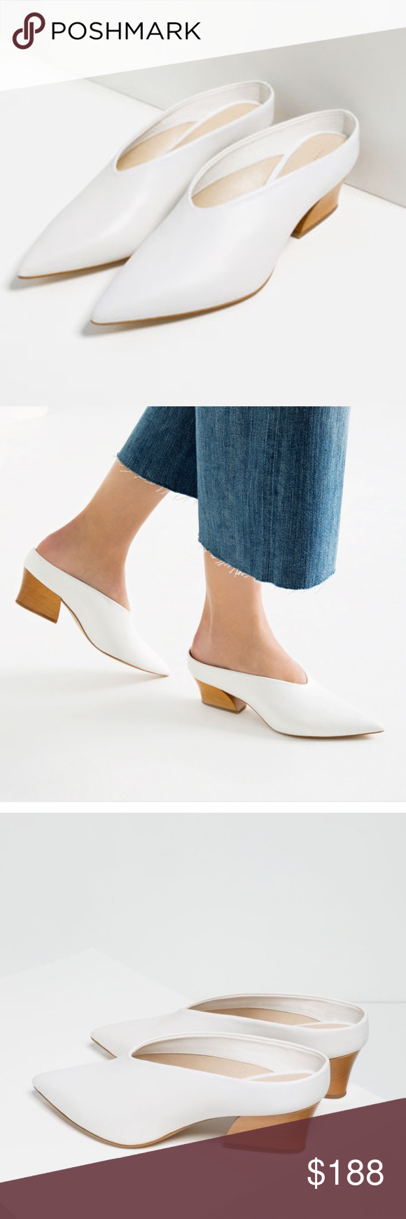 7262f49f9449 Zara White Leather Mules New with tag. Value is beyond price due to unique  design
