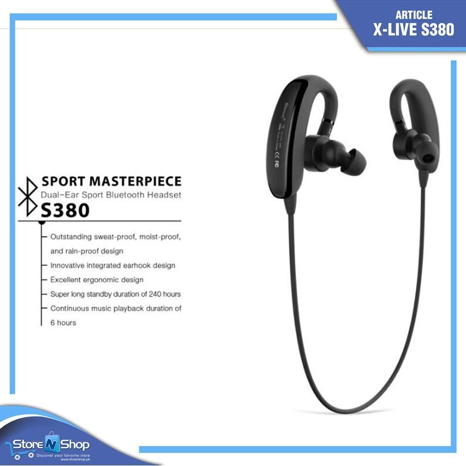 X Live S380 Stereo Wireless Bluetooth Universal Black Sports Bluetooth Headset Xlive Brand Online Sweat Proof Buy Electronics Bluetooth