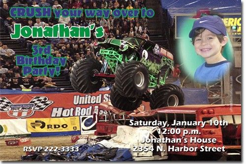 Monster Truck Grave Digger Birthday Invitations addl designs
