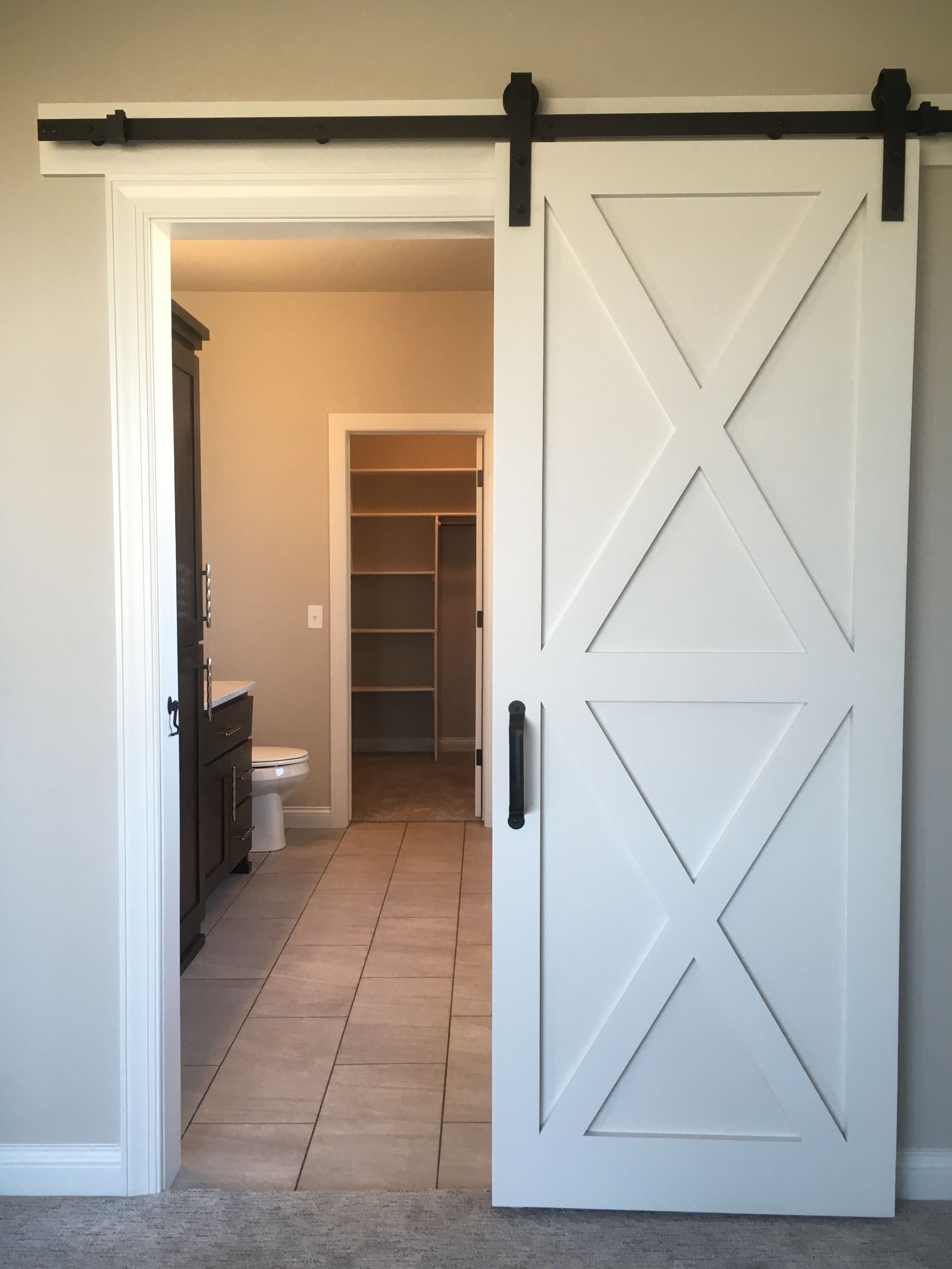 White Barn Door From Master Into Bathroom White Barn Door Barn Door White Master Bathroom