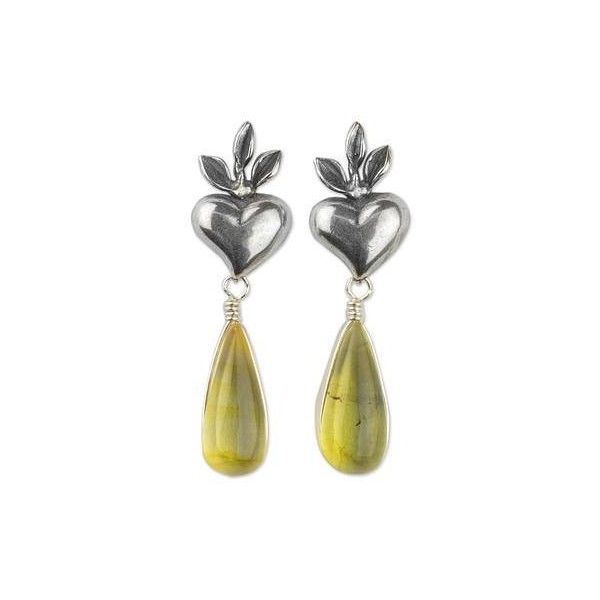 NOVICA Heart Sterling Silver Earrings with Amber Droplets (315 VEF) ❤ liked on Polyvore featuring jewelry, earrings, dangle, yellow, sterling silver earrings, sterling silver crown earrings, yellow dangle earrings, heart dangle earrings and dangle earrings