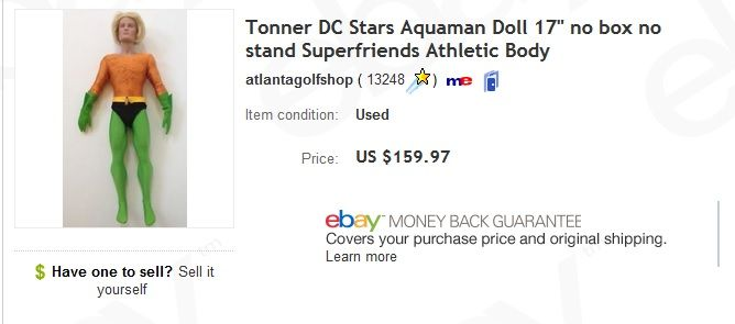 Collectible Aquaman Tonner doll - sold for $159.97