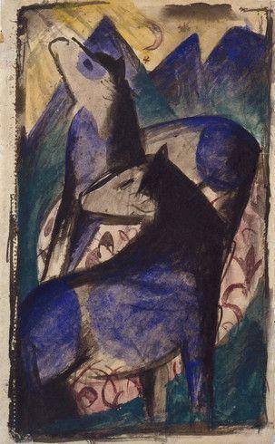 Collection Online | Franz Marc. Two Blue Horses (Zwei blaue Pferde). 1913 - Guggenheim Museum