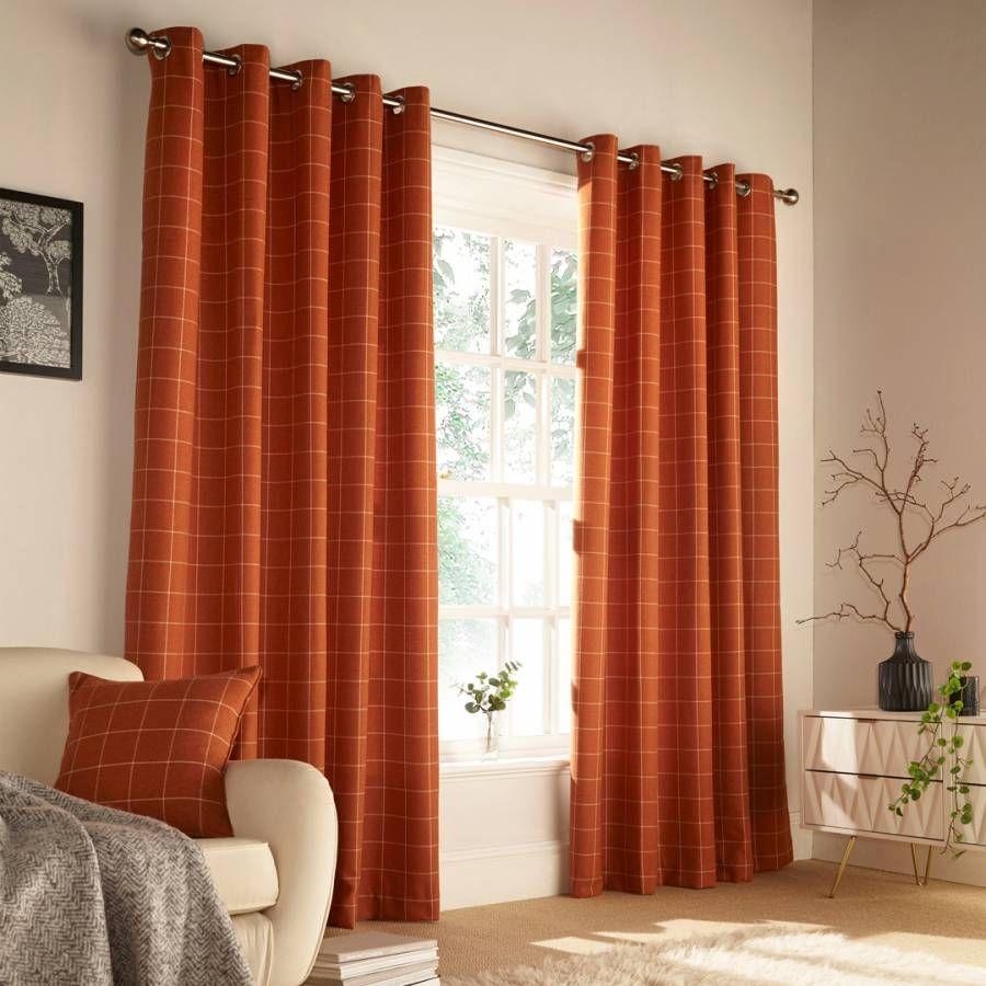 Furn Burnt Orange Ellis Curtains 229x183cm