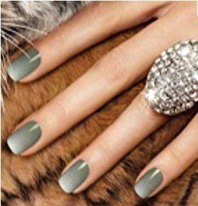 Olive gradient gel manicure