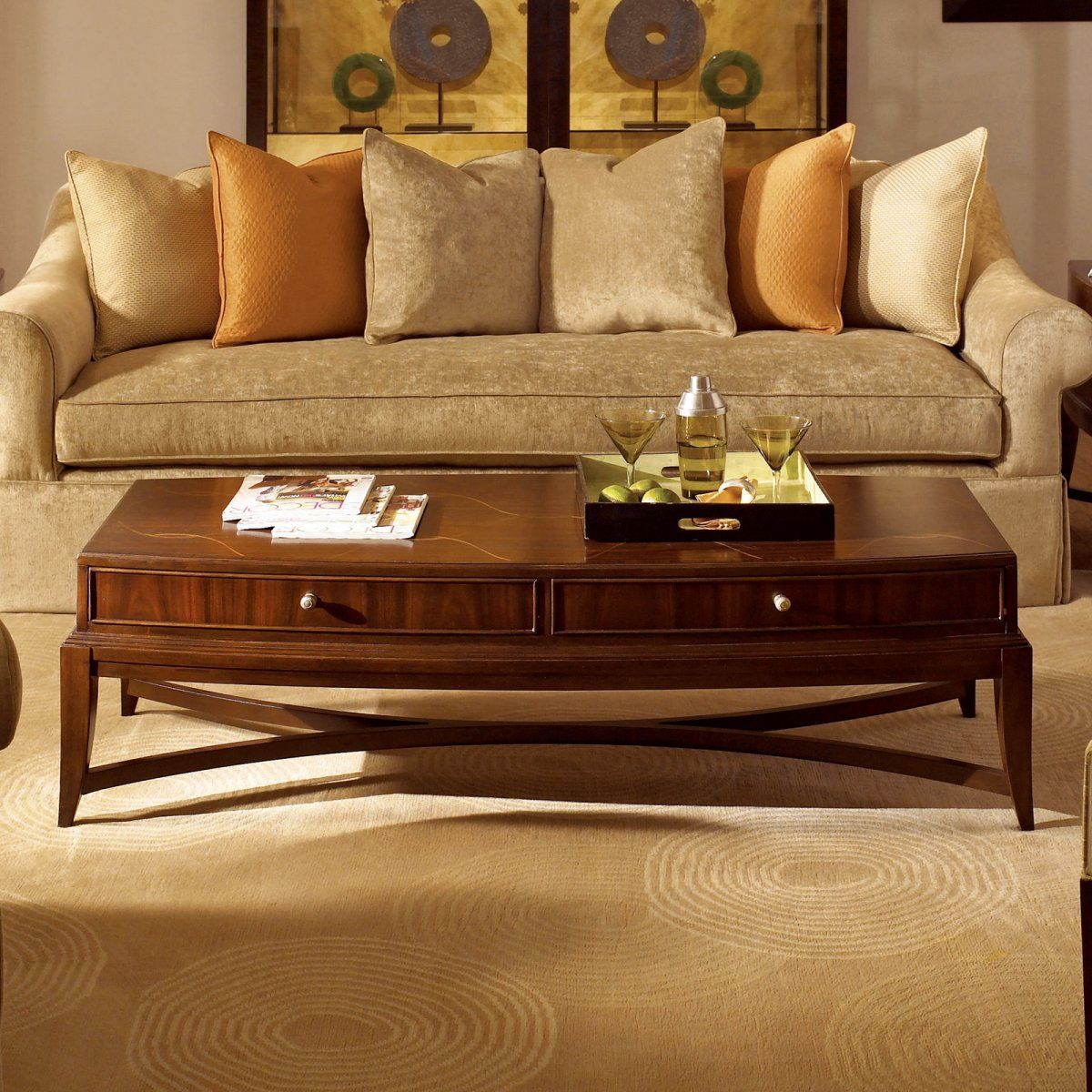 American Drew Bob Mackie Home Signature Rectangular Coffee Table With 2 Drawers Coffee Table Rectangular Coffee Table Table