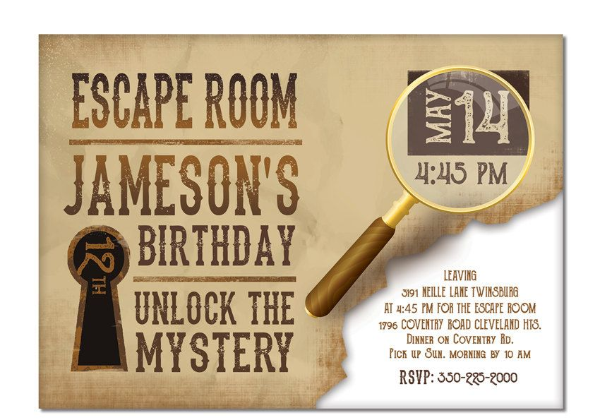 the escape room birthday invitation
