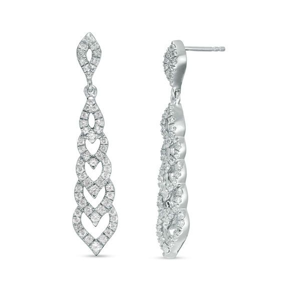 Zales Lab-Created White Sapphire Chandelier Drop Earrings in Sterling Silver F6utBI