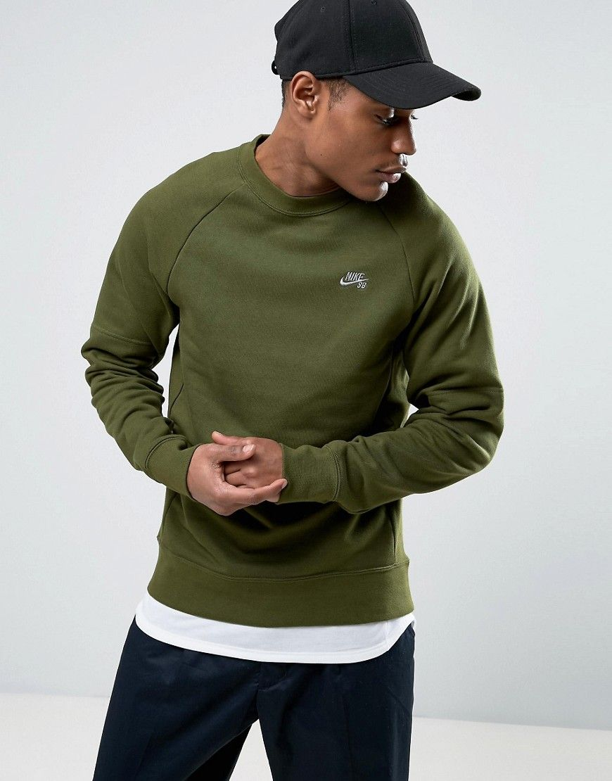 Get This Nike Sb S Skateboarding Sneakers Now Click For More Details Worldwide Shipping Nike Sb Everett Crew Neck Sweat In Green 829385 331 Green Sweatshi [ 1110 x 870 Pixel ]