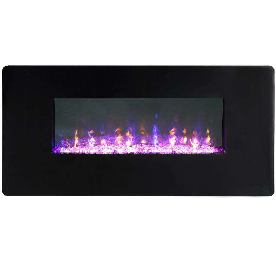 Style Selections 42-in W 5,120-BTU Black Metal Wall-Mount Fan-Forced Electric  Fireplace with Thermostat and Remote 16IN-42-109B - Style Selections 42-in W 5,120-BTU Black Metal Wall-Mount Fan