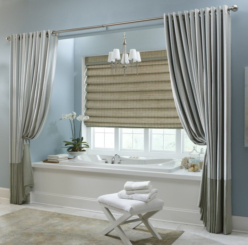 Fashionable Grey Vinyl Extra Long Shower Curtain With Over Blinds