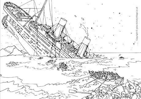 Titanic Sinking Colouring Page Titanic Sinking Titanic Titanic Drawing