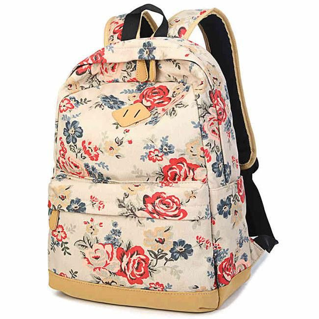 Fashion Large Capacity Travel Backpack Girl's Canvas Printing Rose Flowers School Backpacks