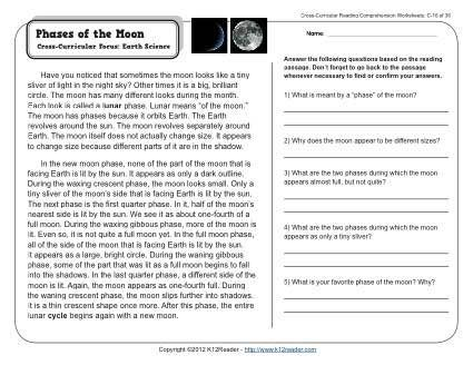 Phases Of The Moon Reading Comprehension Activities Pinterest