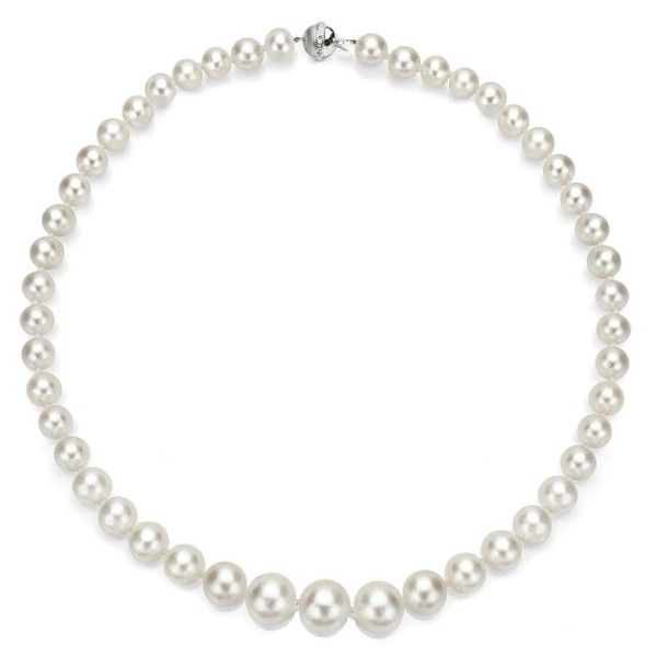 DaVonna 18k White Gold White South Sea Pearl and Diamond Necklace... (59,680 GTQ) ❤ liked on Polyvore featuring jewelry, necklaces, 18 karat gold necklace, 18k white gold necklace, 18k jewelry, 18k necklace and white necklaces