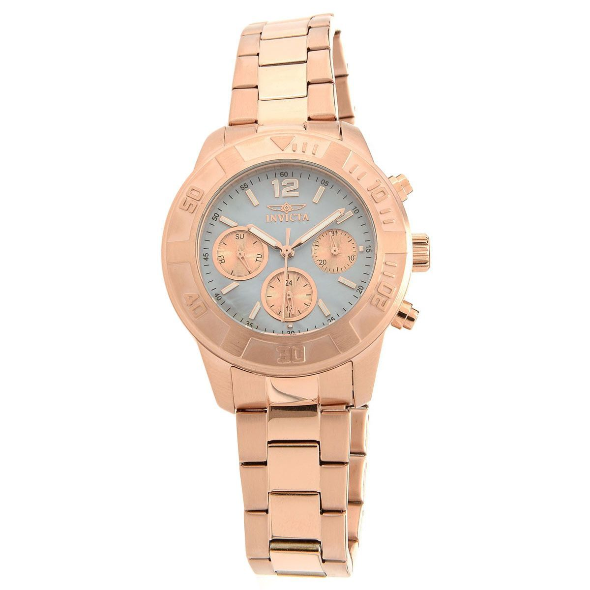 Invicta womenus angel mother of pearl dial rose gold steel