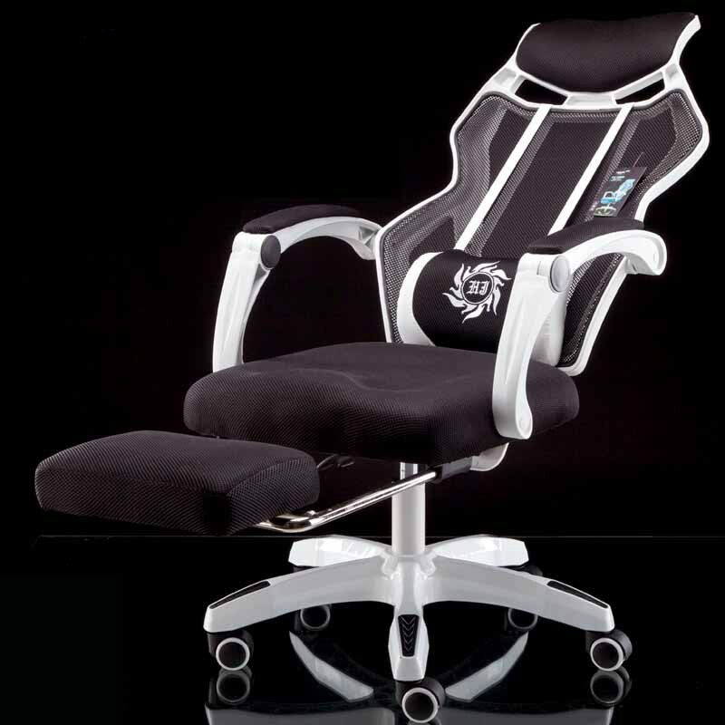 Net Cloth Breathable Computer Chair with Footrest Massage