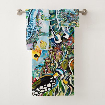 Sea Creatures Beach House Bath Towel Set Zazzle Com Bath Towel