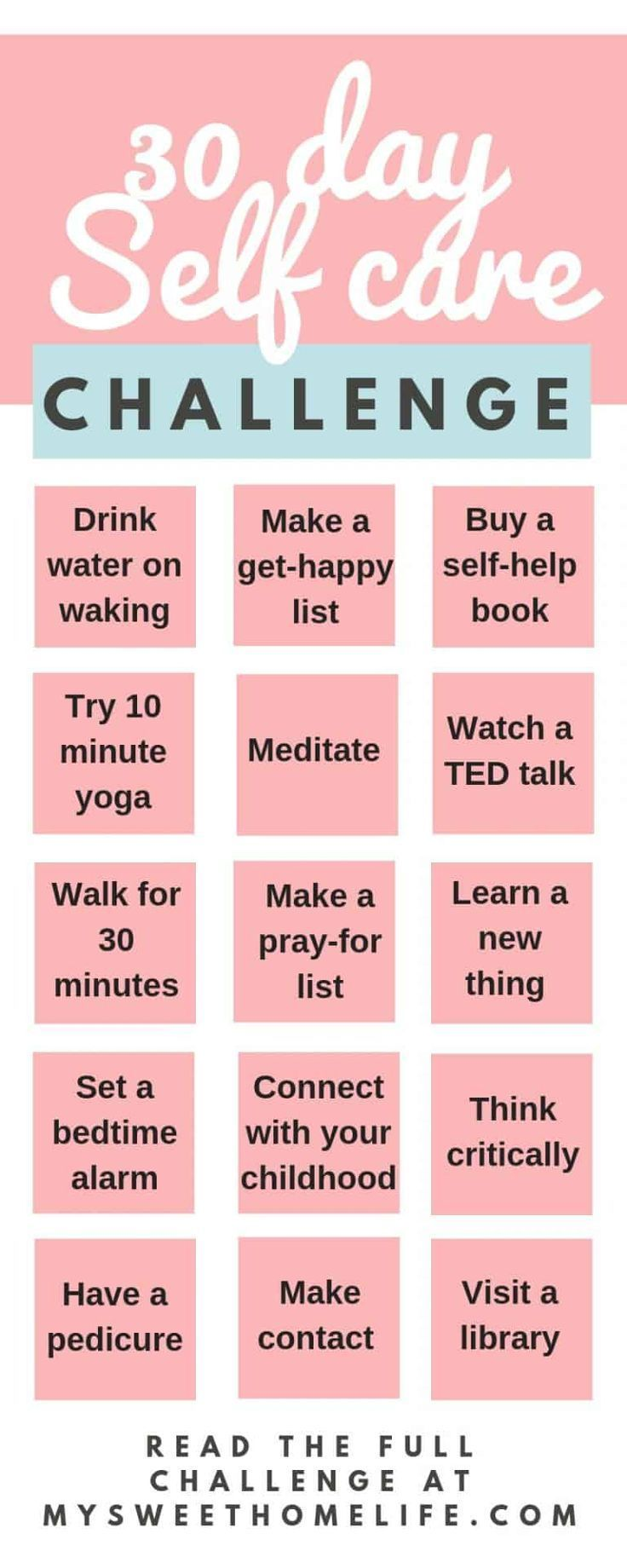 30 day self-care challenge for body, mind and spirit
