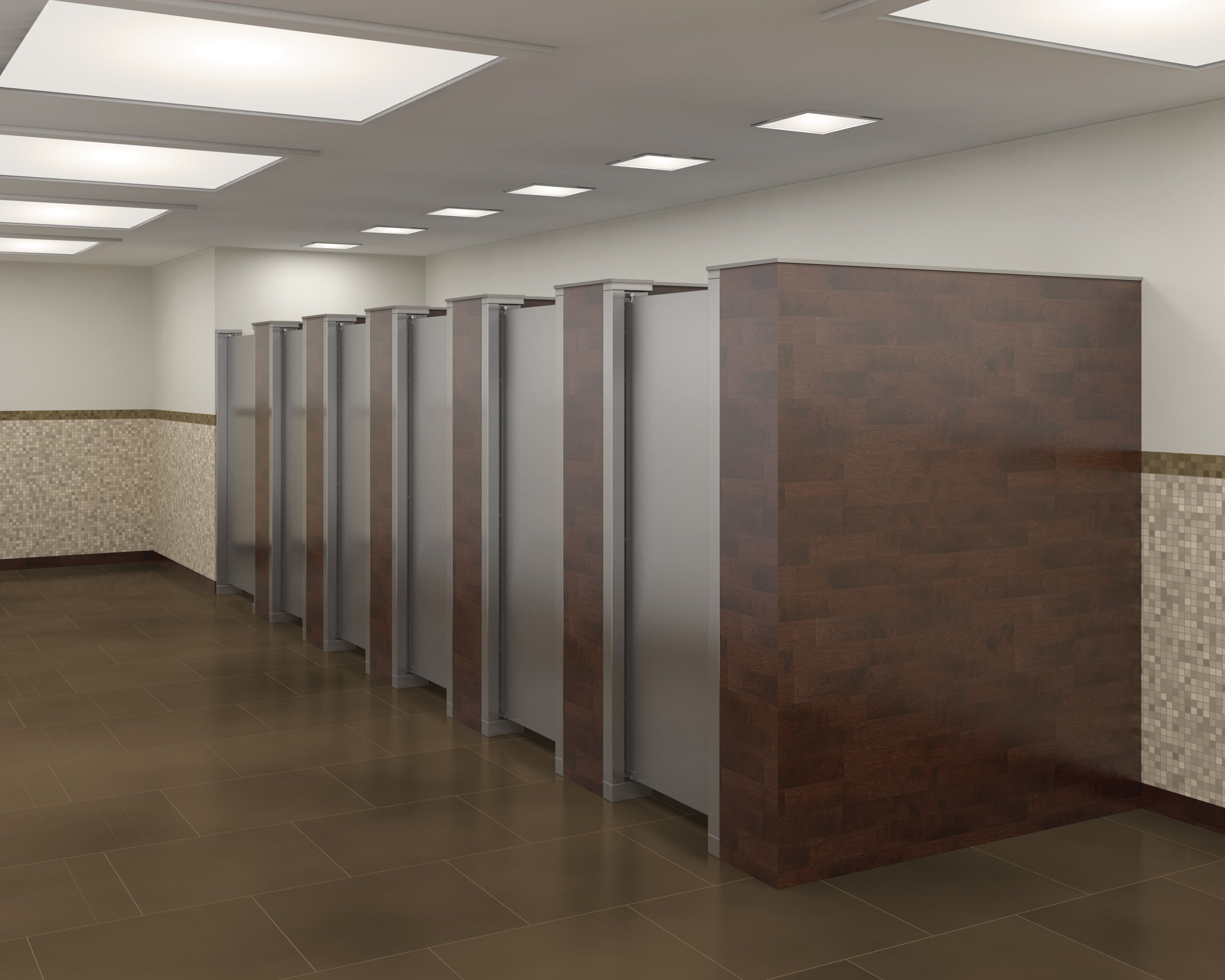 Stainless Steel Parions Doors With Solid Walls Between The Stalls