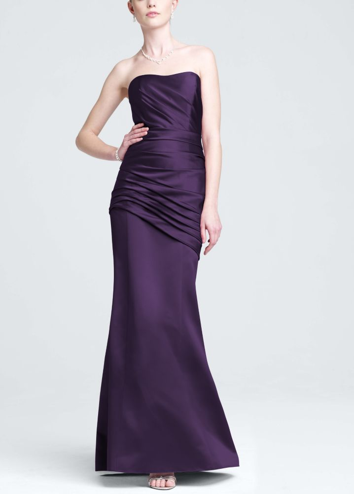 Long Strapless Satin Bridesmaid Dress with Side Ruching - Lapis ...