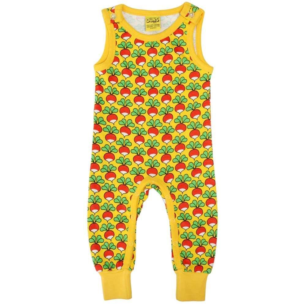 113924ff DUNS Sweden radish print on yellow organic cotton dungarees. DUNS Sweden  Organic Cotton Kids Clothes. Scandi Kids style. Offered at Modern Rascals.