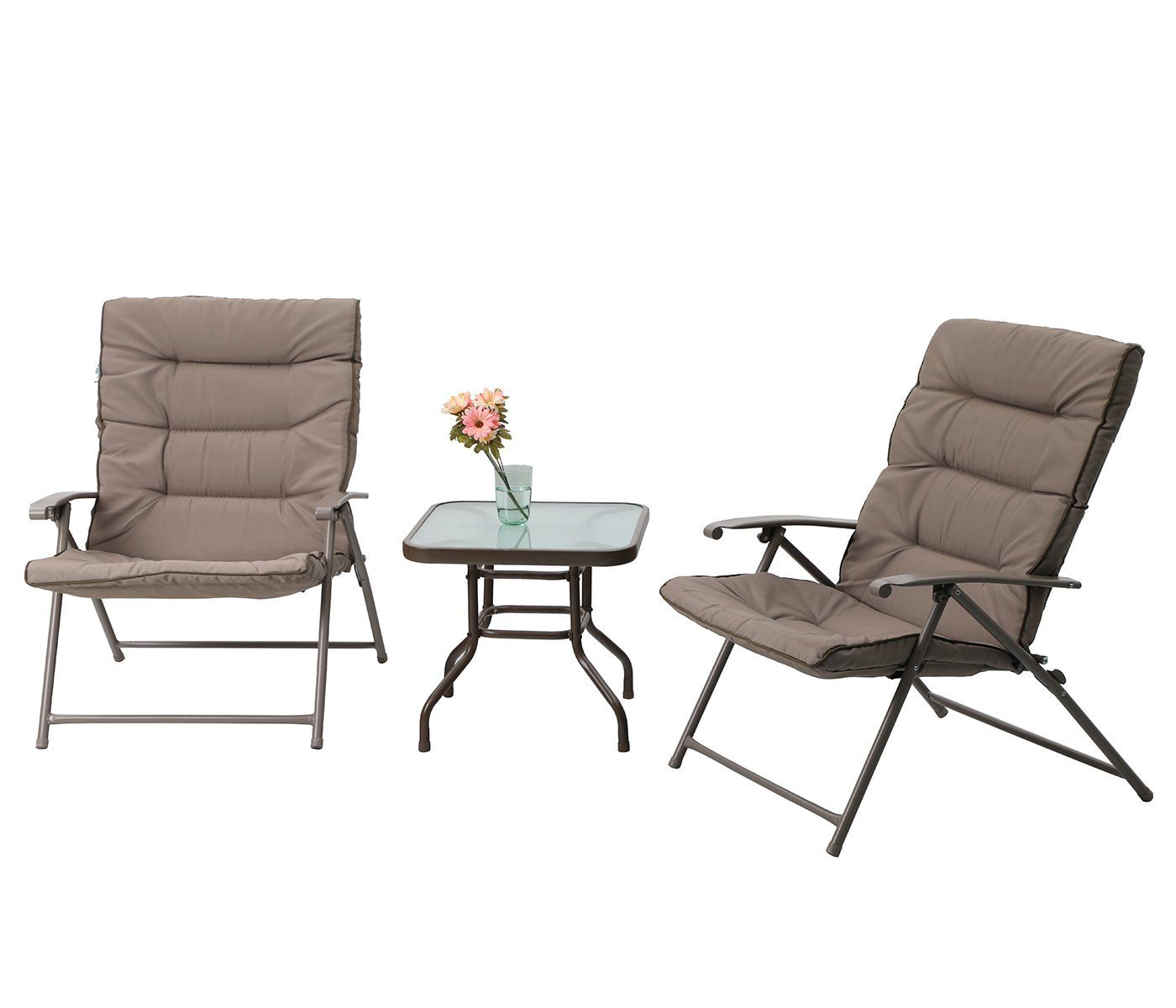 Cool Phi Villa Patio 3 Pc Padded Folding Chair Set Adjustable Ncnpc Chair Design For Home Ncnpcorg