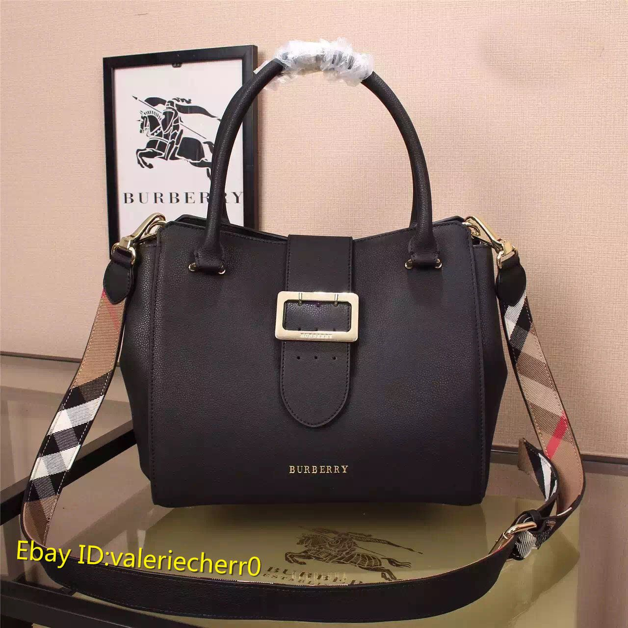 dcd108a48e3 Authentic New Burberry Buckle Medium 30cm Grain Leather Shoulder bag In  Black  495.0