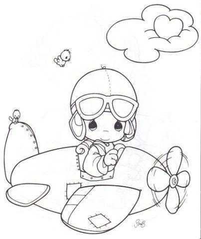 Piloto Aviador Para Colorear Precious Moments Dibujos Dibujos