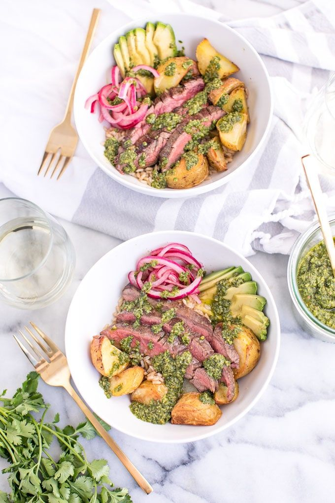 Using a classic argentina chimichurri sauce this recipe for using a classic argentina chimichurri sauce this recipe for chimichurri steak bowls is an easy forumfinder Image collections