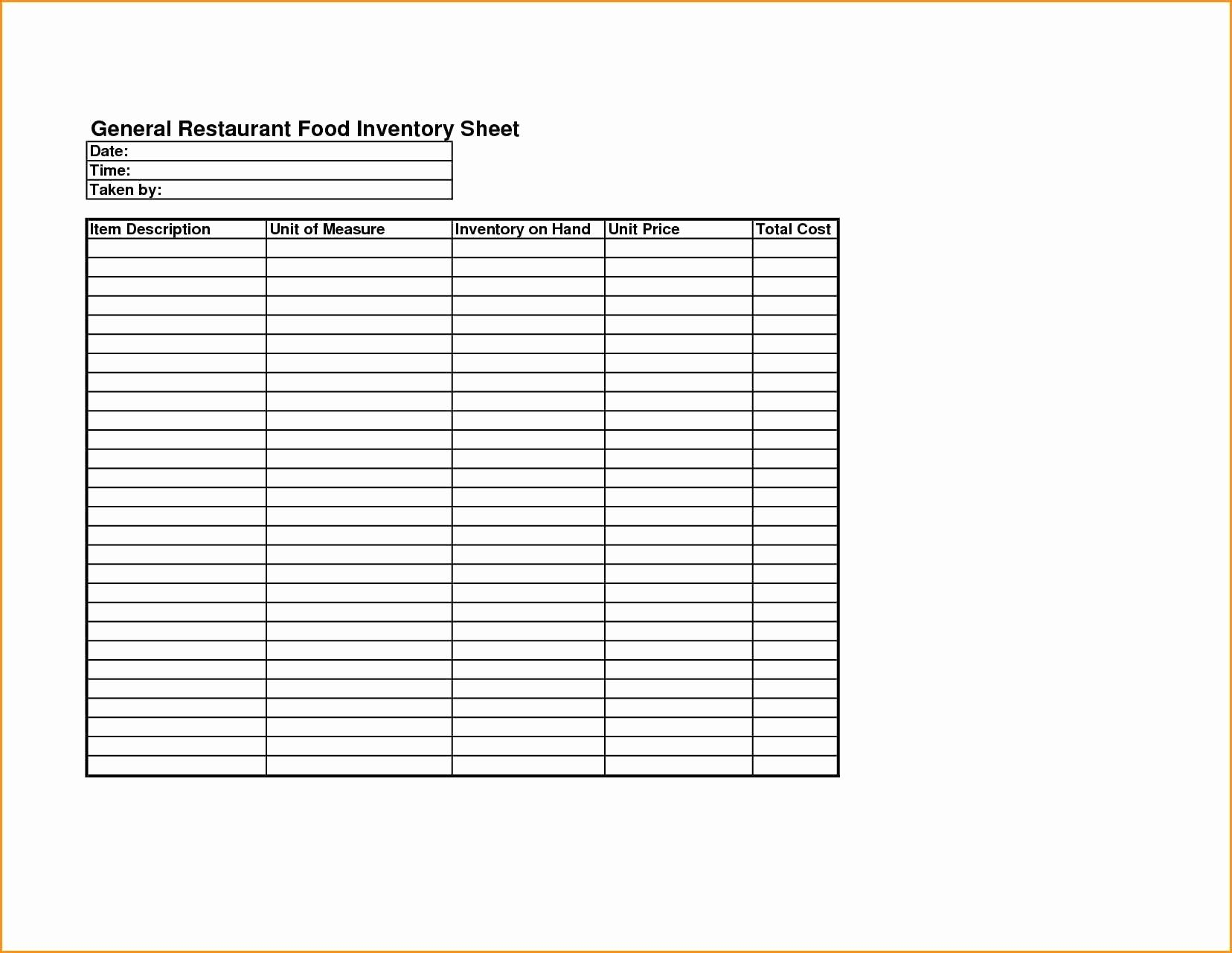 Food Storage Inventory Chart Fresh 50 Fresh Food Costing