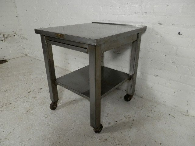 Industrial Metal Work Table W Sliding Shelf On Casters I - Small metal work table
