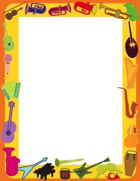 This printable musical instrument border is decorated with ...