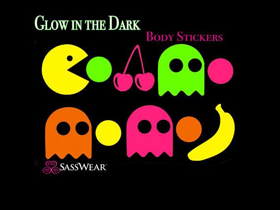 Pacman Glühen In Der Dunklen Körper Aufkleber Neon Rave