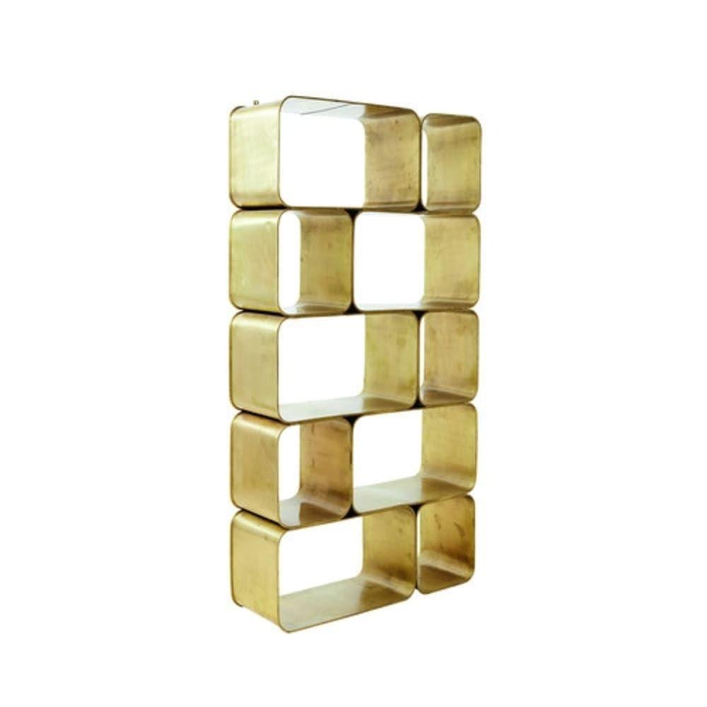 Scaffale In Metallo Con Finiture In Ottone Metal Shelves
