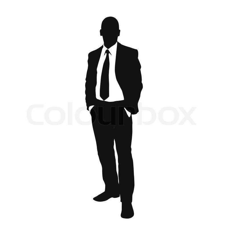 Vector business man black silhouette standing full length ...