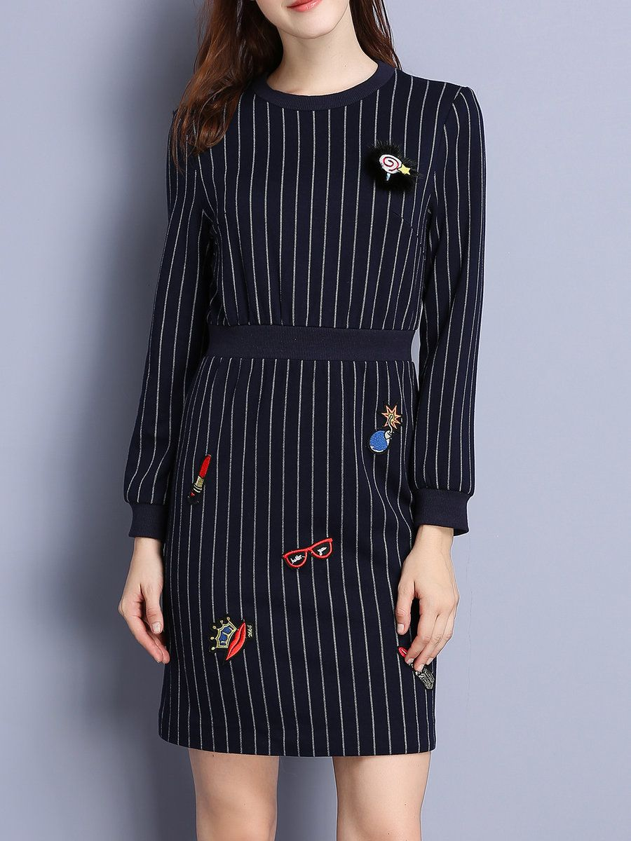 #AdoreWe KAN·F Navy Blue Embroidered Cute Stripes Crew Neck Sweater Dress - AdoreWe.com