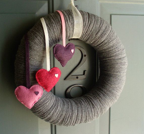 ^INSPIRATION...Yarn Wreath Felt Handmade Door Decoration - Falling Hearts 12in -   This grey wreath has 3 stuffed cute hearts dripping down the side.  Cute for all seasons!