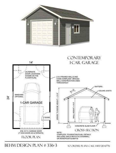 1 Car 14 Wide Garage Plan with One Story 3363 14 x 24 by Behm – Garage Plans Online