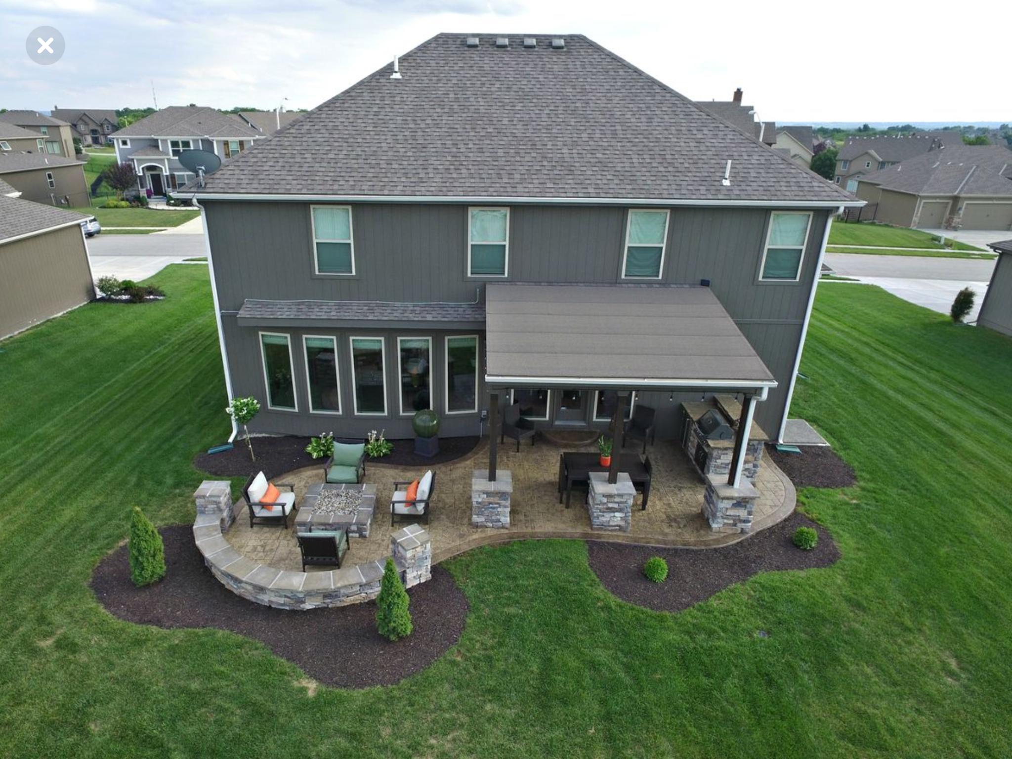 Idea Of Incorporating Fire Pit Area With A Covered Porch Patio Design Concrete Patio Designs Concrete Patio